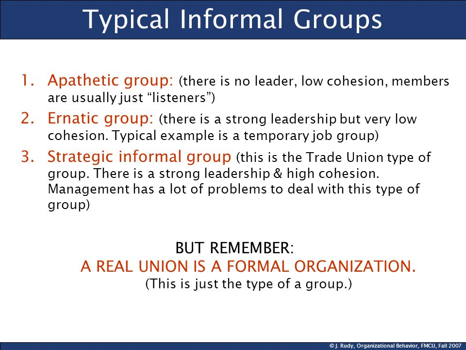 © J. Rudy, Organizational Behavior, FMCU, Fall 2007 Typical Informal Groups 1.Apathetic group: (there is no leader, low cohesion, members are usually