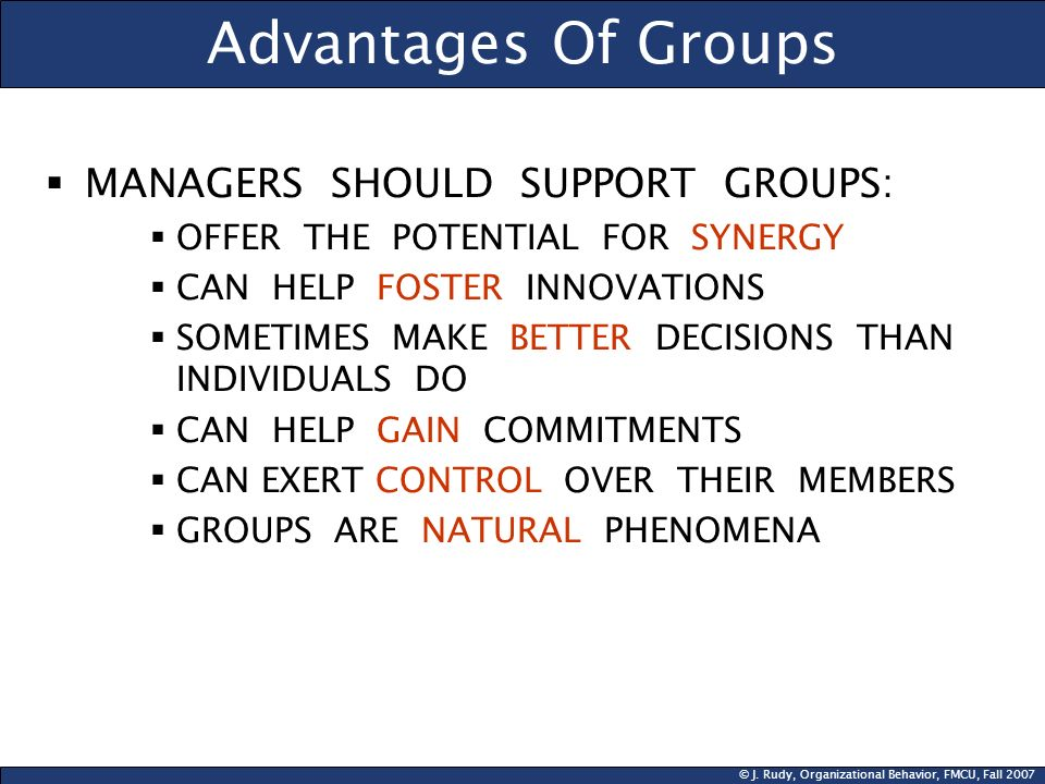 © J. Rudy, Organizational Behavior, FMCU, Fall 2007 Advantages Of Groups  MANAGERS SHOULD SUPPORT GROUPS:  OFFER THE POTENTIAL FOR SYNERGY  CAN HEL