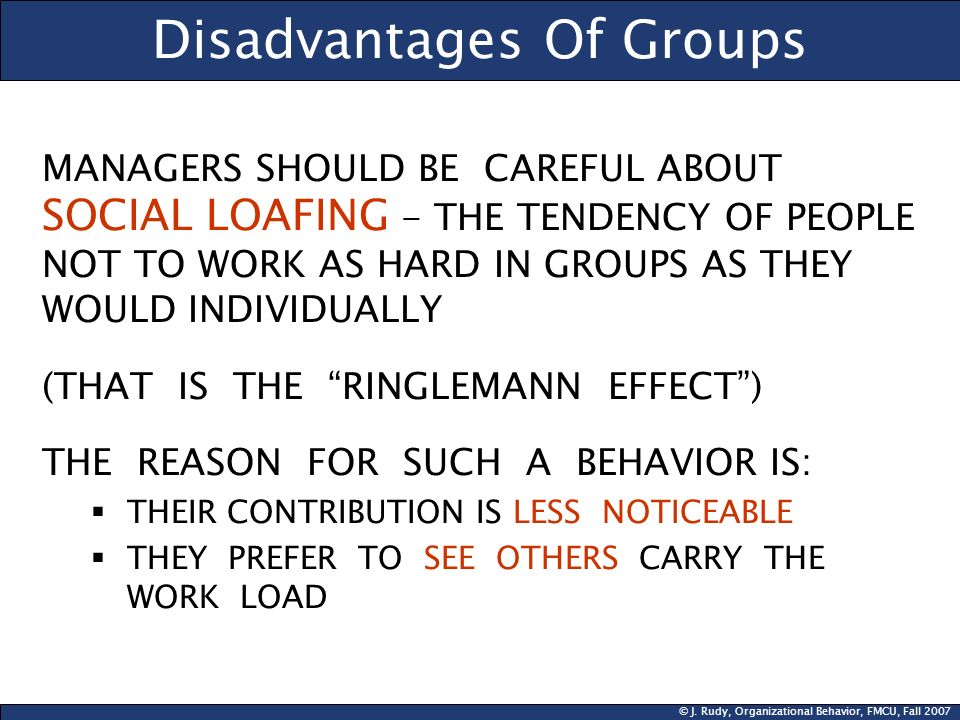 © J. Rudy, Organizational Behavior, FMCU, Fall 2007 Disadvantages Of Groups MANAGERS SHOULD BE CAREFUL ABOUT SOCIAL LOAFING - THE TENDENCY OF PEOPLE N