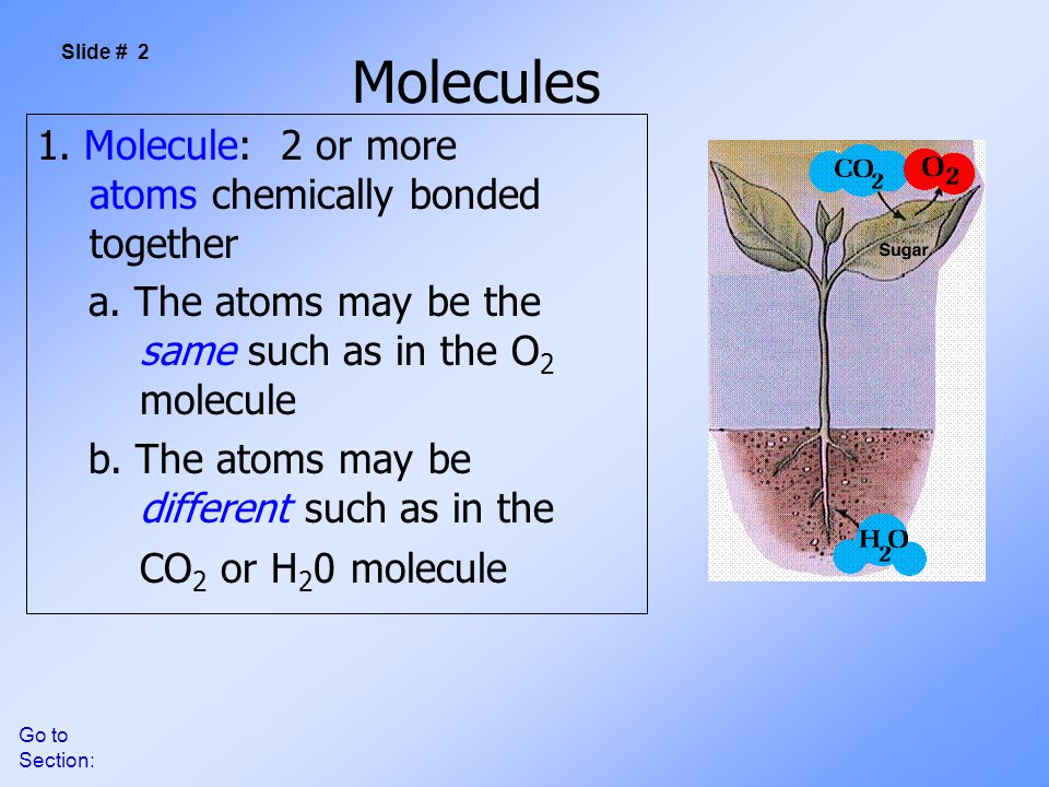 Go to Section: Molecules 1. Molecule: 2 or more atoms chemically bonded together a.