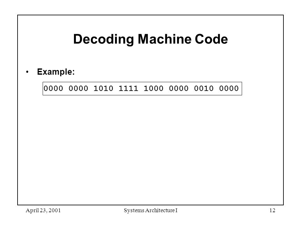 April 23, 2001Systems Architecture I12 Decoding Machine Code Example: 0000 0000 1010 1111 1000 0000 0010 0000