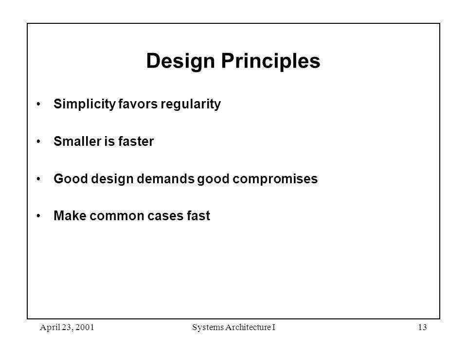 April 23, 2001Systems Architecture I13 Design Principles Simplicity favors regularity Smaller is faster Good design demands good compromises Make comm
