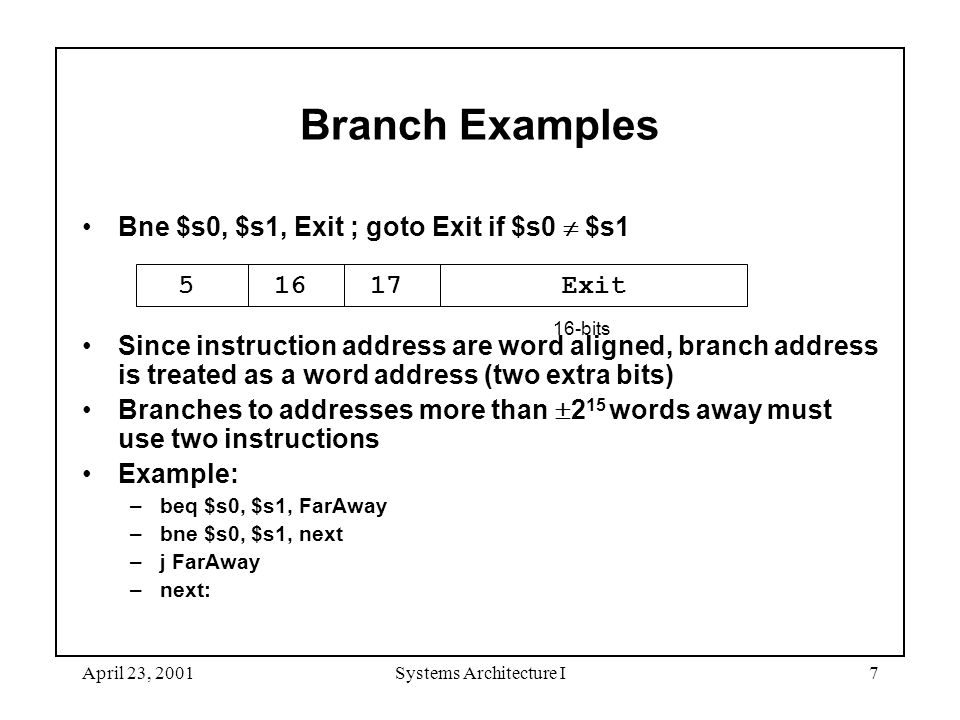 April 23, 2001Systems Architecture I7 Branch Examples Bne $s0, $s1, Exit ; goto Exit if $s0  $s1 Since instruction address are word aligned, branch address is treated as a word address (two extra bits) Branches to addresses more than  2 15 words away must use two instructions Example: –beq $s0, $s1, FarAway –bne $s0, $s1, next –j FarAway –next: 5 16 17 Exit 16-bits