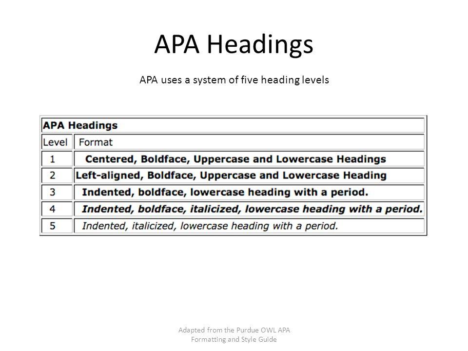 apa format section headings