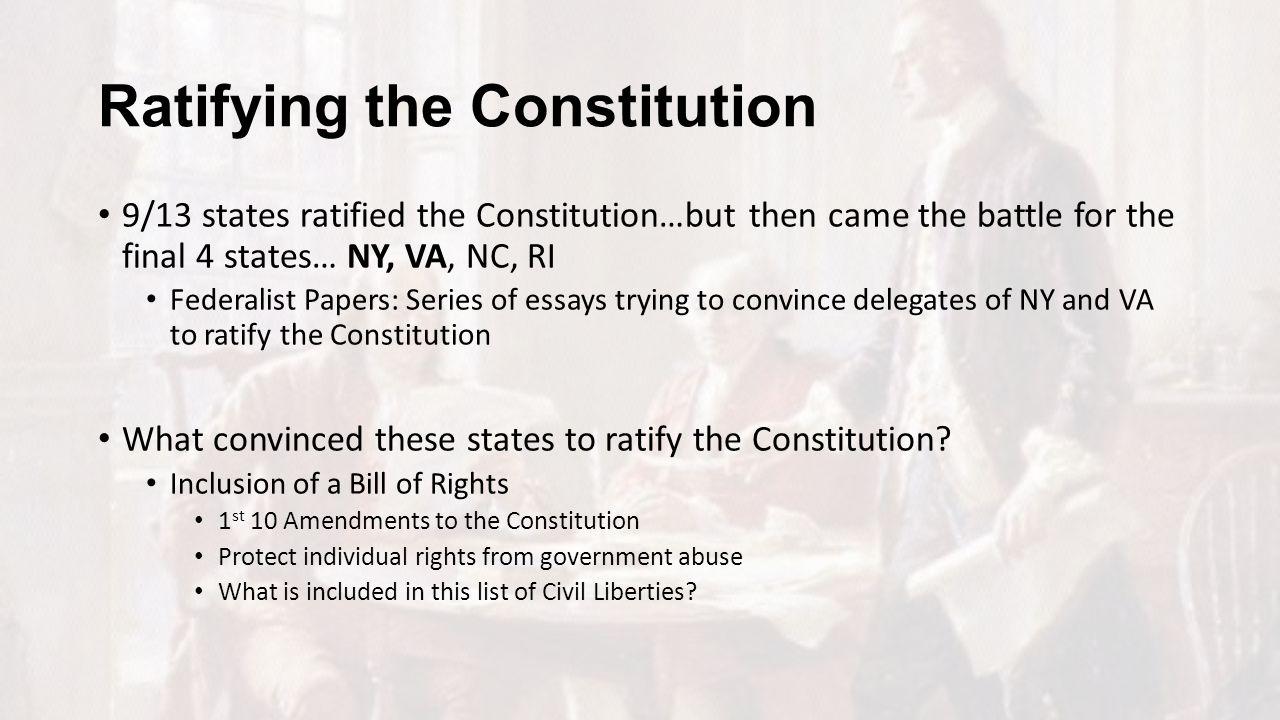 ratification constitution essays The prehistory and ratification of the american constitution essay ratification of the constitution in and ratification of the american constitution.