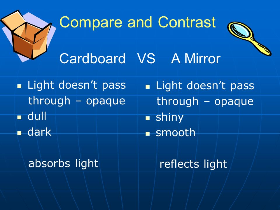 Compare and Contrast Cardboard VS A Mirror Light doesn't pass through – opaque dull dark absorbs light Light doesn't pass through – opaque shiny smooth reflects light