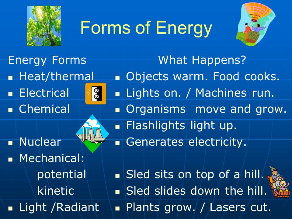 Forms of Energy Energy Forms Heat/thermal Electrical Chemical Nuclear Mechanical: potential kinetic Light /Radiant What Happens.