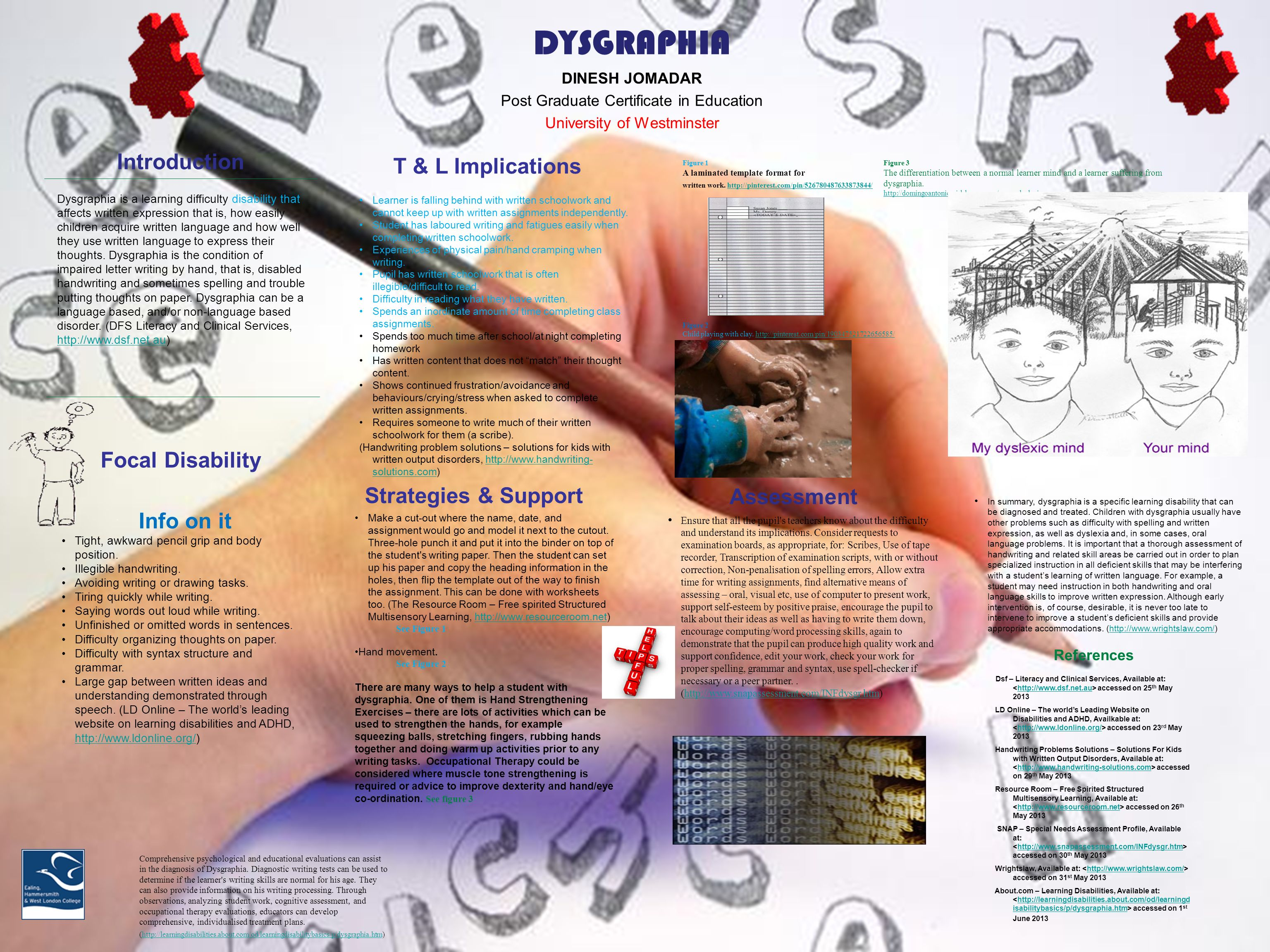 Dysgraphia Dinesh Jomadar Post Graduate Certificate In Education