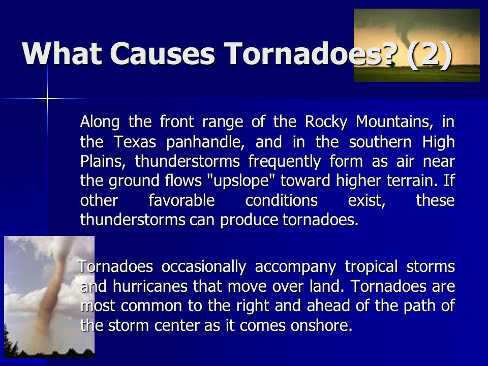 tornadoes causes classification occurrence and destructive Oklahoma tornadoes and their destructive ways - oklahoma tornadoes and their destructive ways what makes tornadoes and their destruction interesting to people is it the variety in formations, the miles one can travel, the random paths it takes, the changes tornadoes can make on climate and the formation of the land or is it because.