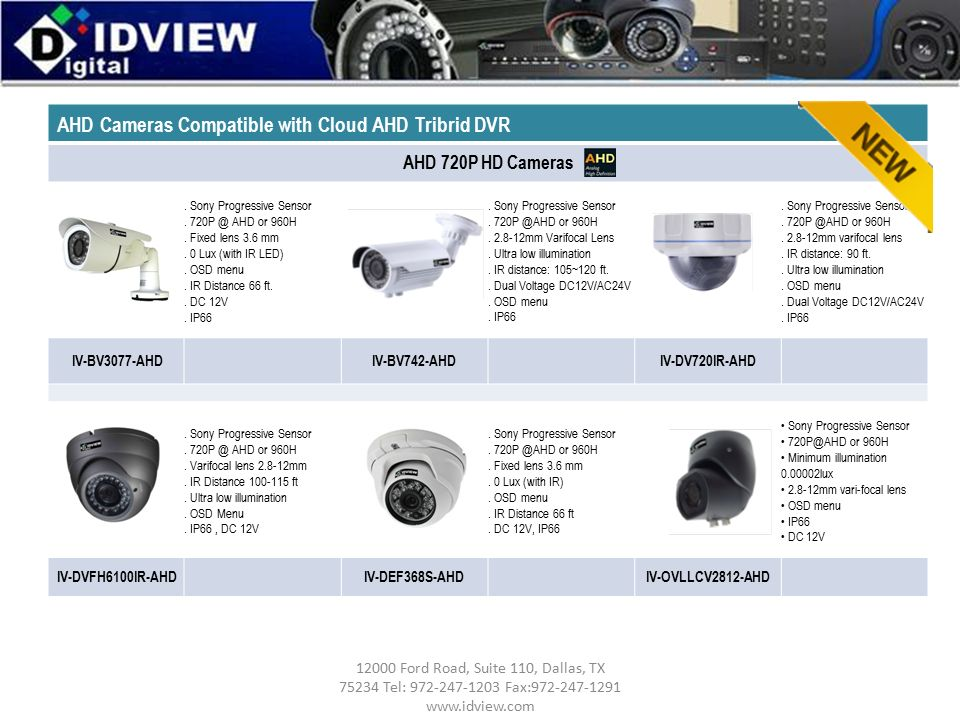 AHD Cameras Compatible with Cloud AHD Tribrid DVR AHD 720P HD Cameras.