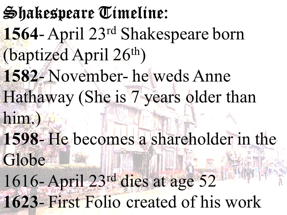 shakespeare biography timeline