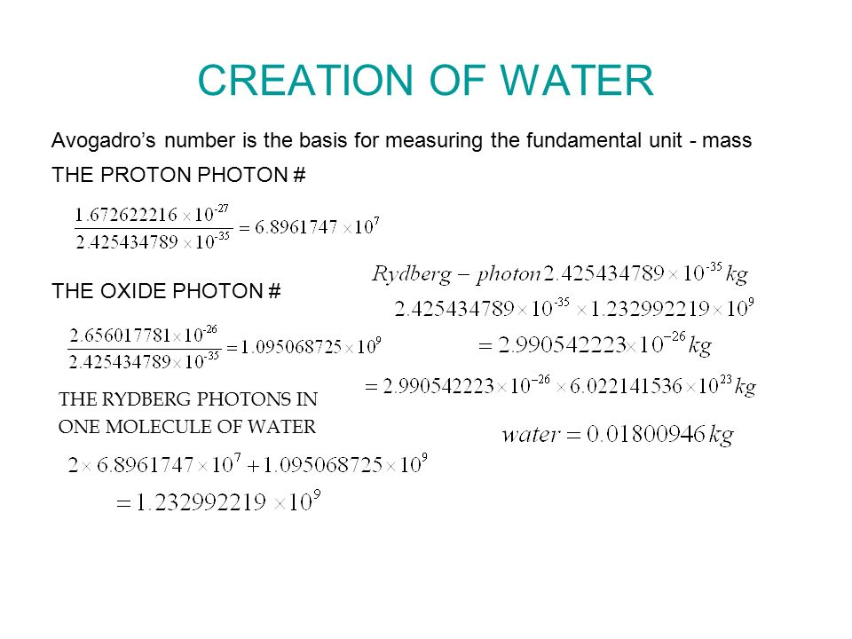 CREATION OF WATER Avogadro's number is the basis for measuring the fundamental unit - mass THE PROTON PHOTON # THE OXIDE PHOTON # THE RYDBERG PHOTONS IN ONE MOLECULE OF WATER