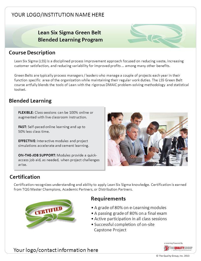 Lean six sigma green belt blended learning program course 1 lean six sigma xflitez Choice Image