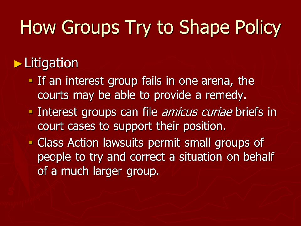How Groups Try to Shape Policy ► Litigation  If an interest group fails in one arena, the courts may be able to provide a remedy.