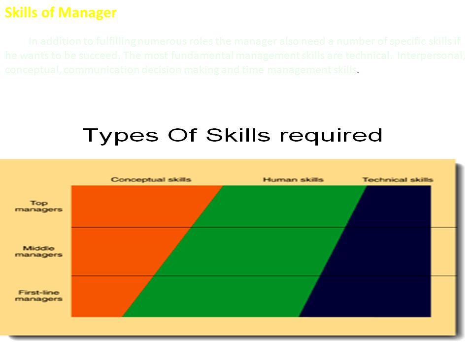 Skills of Manager In addition to fulfilling numerous roles the manager also need a number of specific skills if he wants to be succeed.