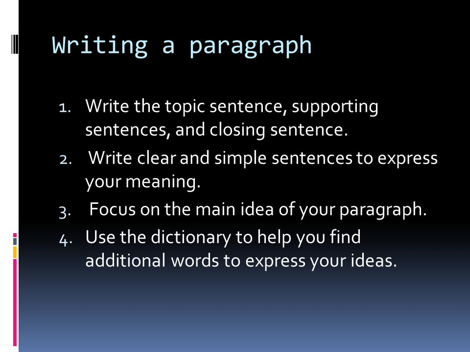 prof gladys velez paragraph format  topic sentence  write the topic sentence supporting sentences and closing sentence