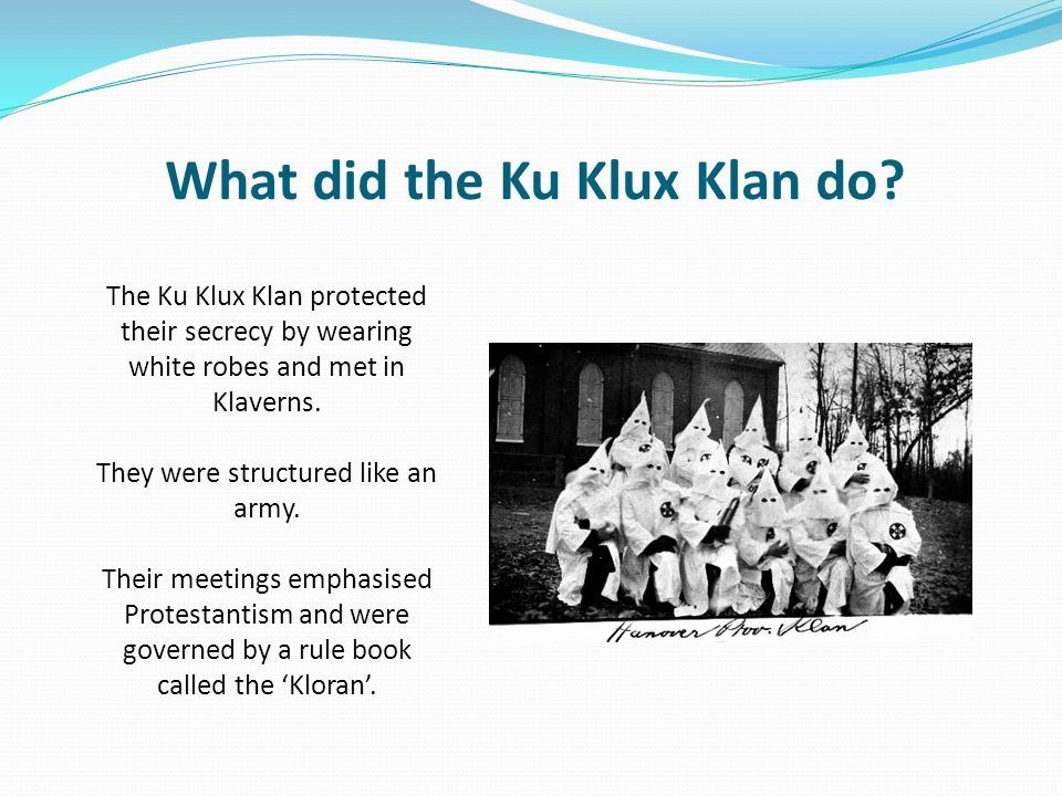 an introduction to the history and the issue of the ku klux klan Summary the next chapter aims to answer the question, how is the ku klux klan like a group of real estate agents levitt begins by going into the history of the kkk, founded initially in the aftermath of the civil war by six men doing harmless midnight pranks, and later evolving into a multi-state terrorist organization targeting.