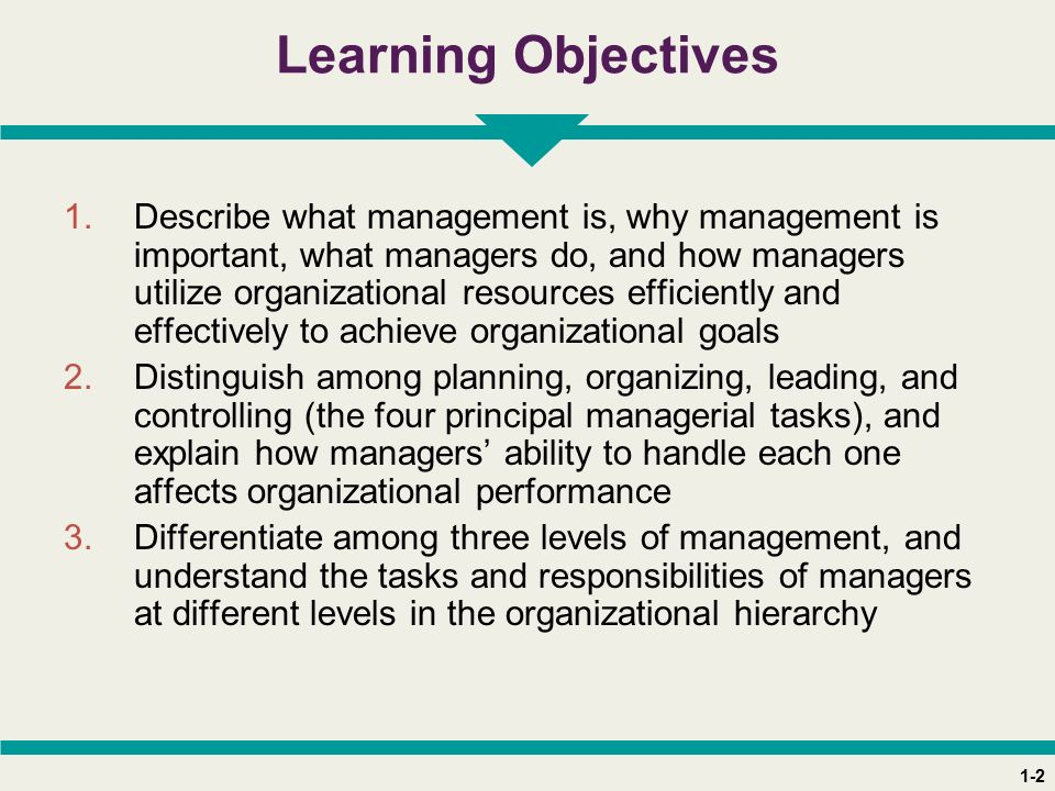 1-2 Learning Objectives 1.Describe what management is, why management is important, what managers do, and how managers utilize organizational resources efficiently and effectively to achieve organizational goals 2.Distinguish among planning, organizing, leading, and controlling (the four principal managerial tasks), and explain how managers' ability to handle each one affects organizational performance 3.Differentiate among three levels of management, and understand the tasks and responsibilities of managers at different levels in the organizational hierarchy