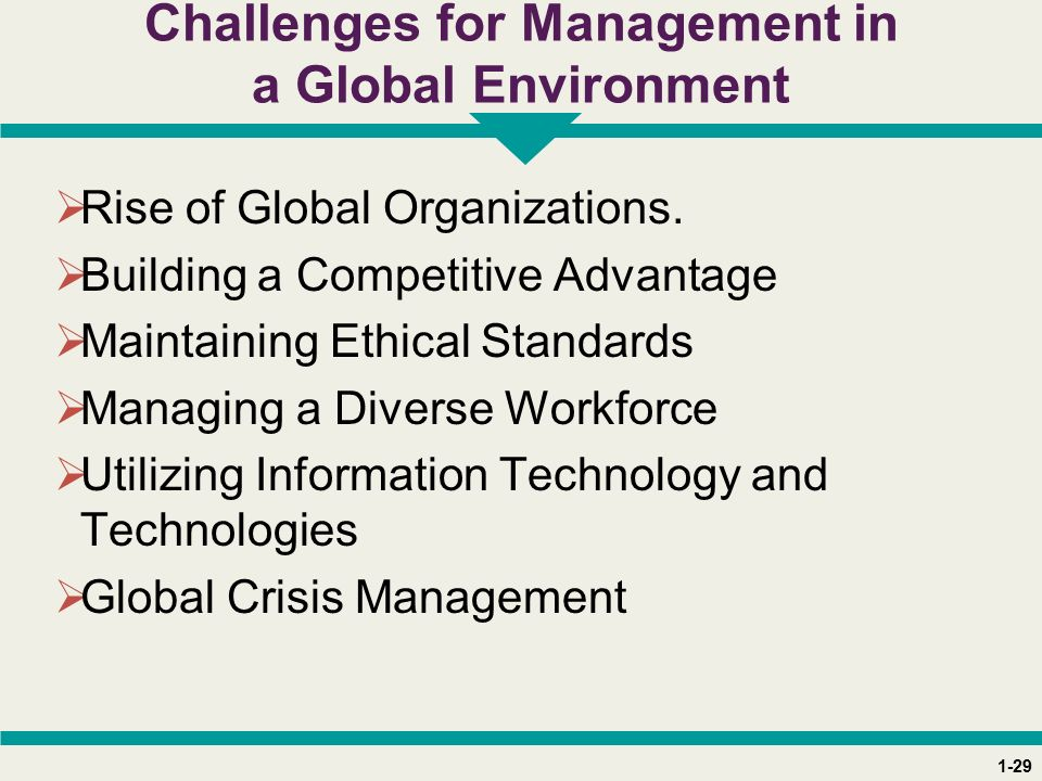 1-29 Challenges for Management in a Global Environment  Rise of Global Organizations.