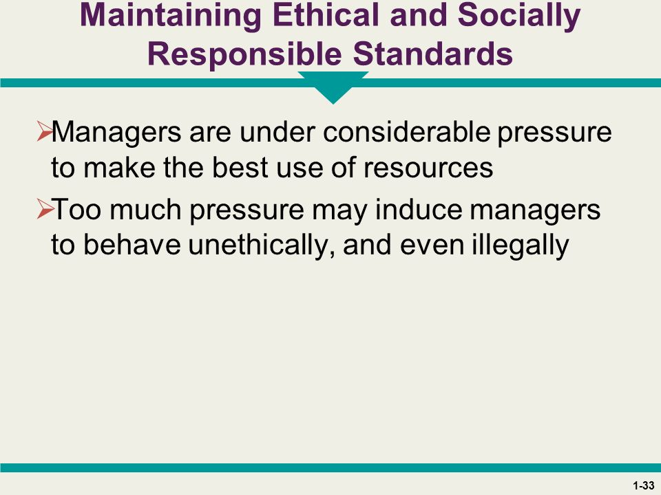 1-33 Maintaining Ethical and Socially Responsible Standards  Managers are under considerable pressure to make the best use of resources  Too much pressure may induce managers to behave unethically, and even illegally