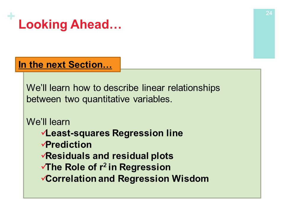 + Looking Ahead… We'll learn how to describe linear relationships between two quantitative variables.