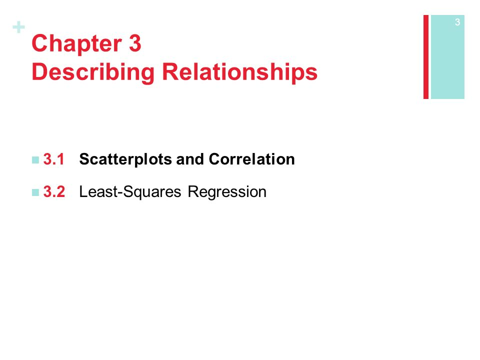 + Chapter 3 Describing Relationships 3.1Scatterplots and Correlation 3.2Least-Squares Regression 3