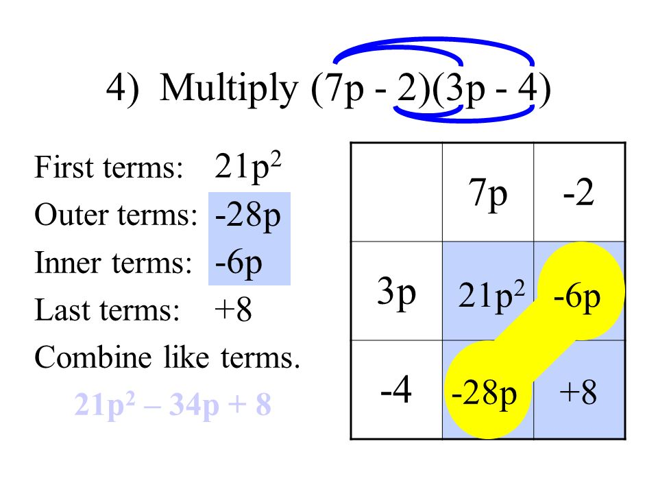 4) Multiply (7p - 2)(3p - 4) First terms: Outer terms: Inner terms: Last terms: Combine like terms.