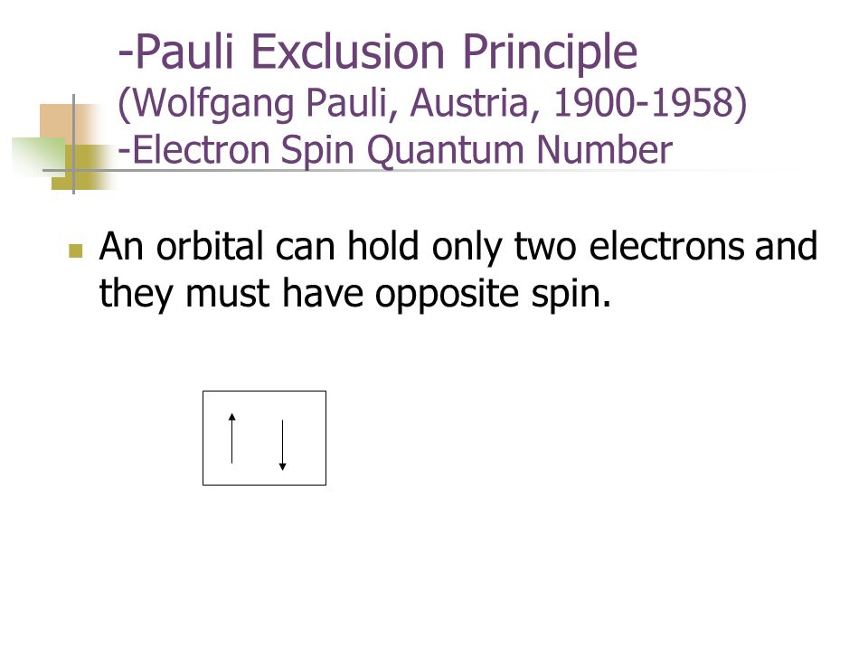 -Pauli Exclusion Principle (Wolfgang Pauli, Austria, ) -Electron Spin Quantum Number An orbital can hold only two electrons and they must have opposite spin.