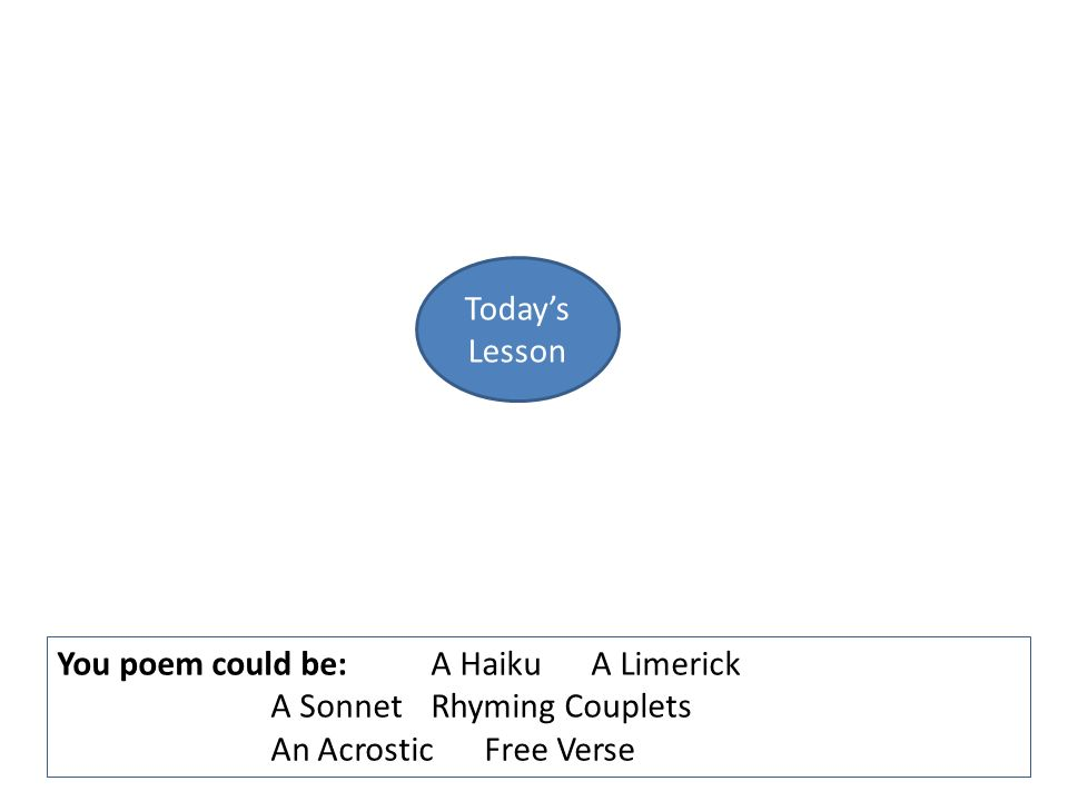 Plenary youre bard 1 work with a partner create a spider diagram 2 todays lesson you poem could bea haikua limerick a sonnetrhyming couplets an acrosticfree verse ccuart Choice Image