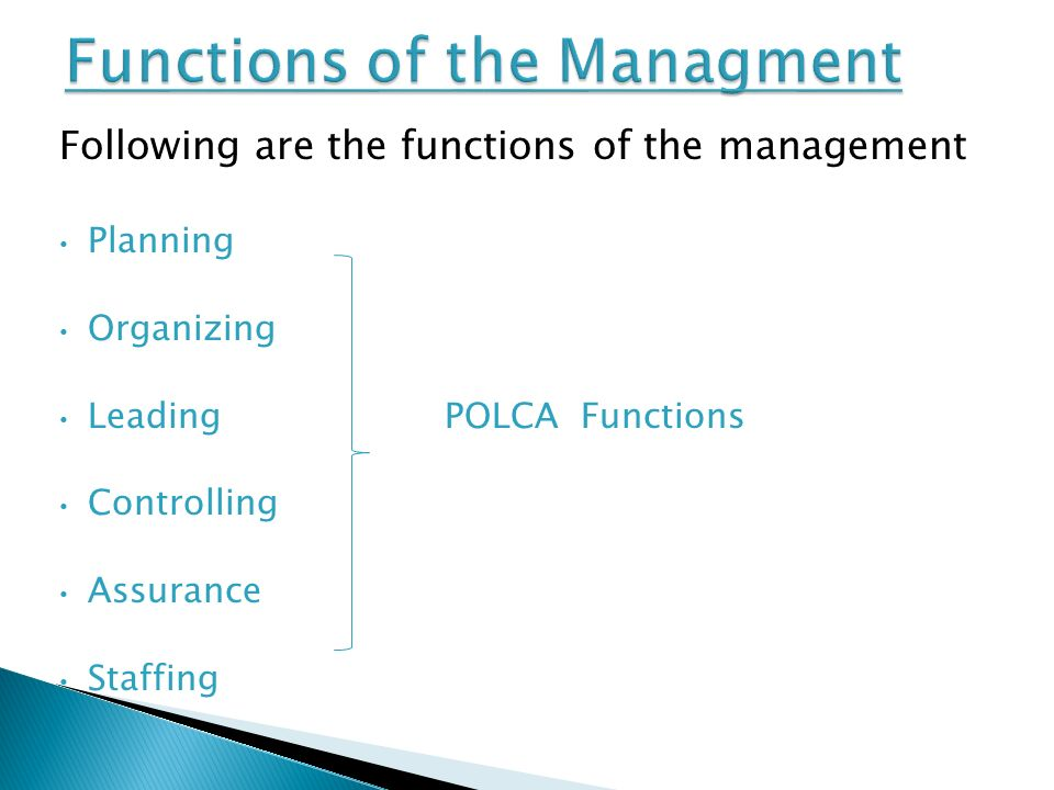 Following are the functions of the management Planning Organizing Leading POLCA Functions Controlling Assurance Staffing