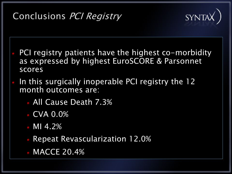 PCI registry patients have the highest co-morbidity as expressed by highest EuroSCORE & Parsonnet scores In this surgically inoperable PCI registry the 12 month outcomes are: All Cause Death 7.3% CVA 0.0% MI 4.2% Repeat Revascularization 12.0% MACCE 20.4% Conclusions PCI Registry