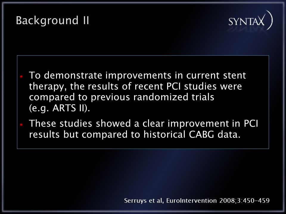 To demonstrate improvements in current stent therapy, the results of recent PCI studies were compared to previous randomized trials (e.g.