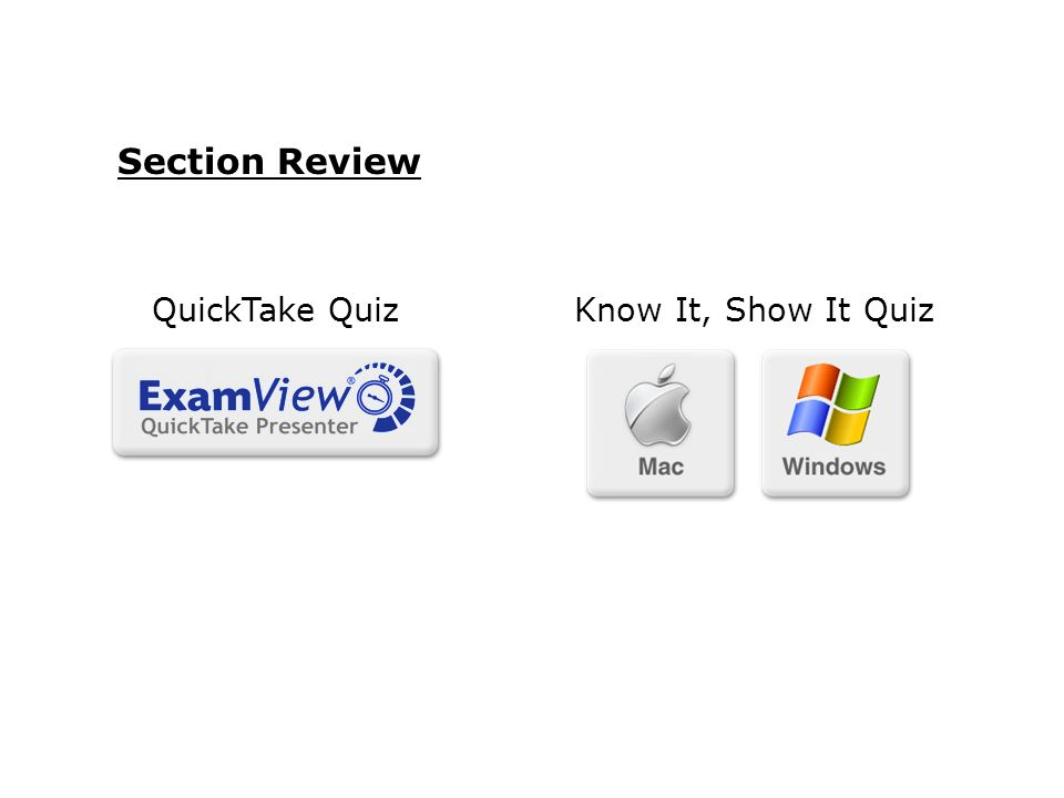 Section Review Know It, Show It QuizQuickTake Quiz