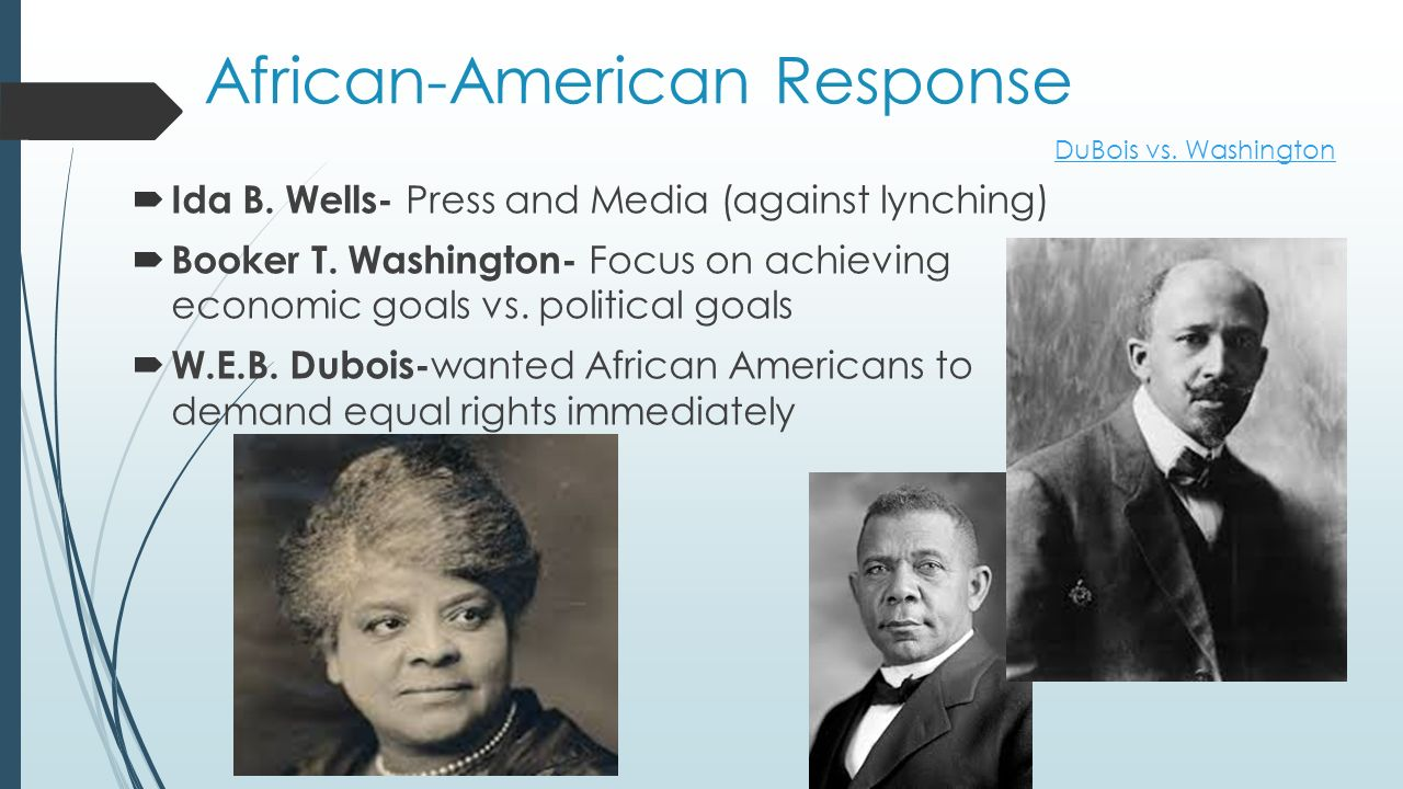 African-American Response  Ida B. Wells- Press and Media (against lynching)  Booker T.