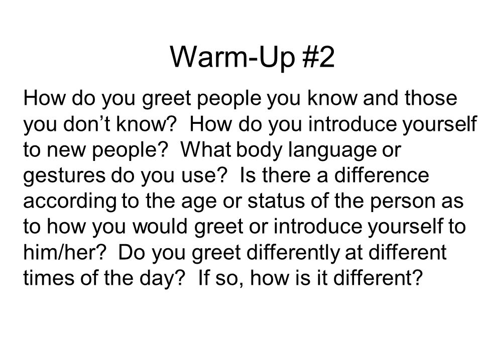 Warm up 1 name as many countries as you can think of where warm up 2 how do you greet people you know and those you don solutioingenieria Image collections