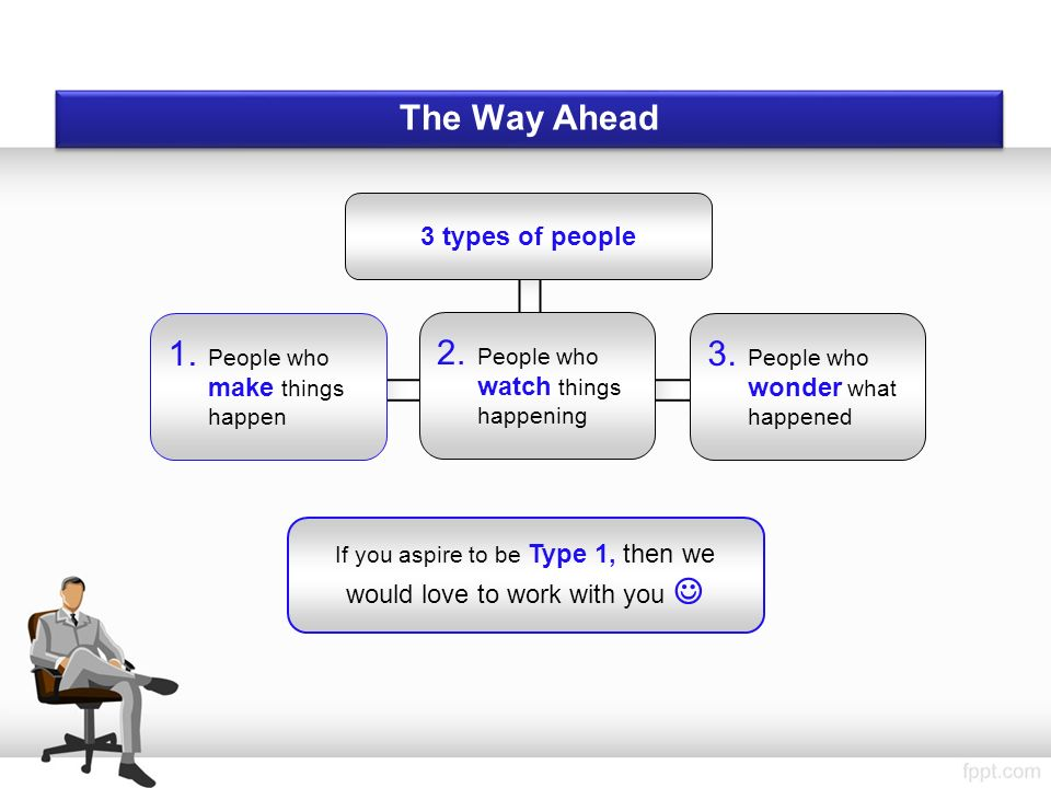 If you aspire to be Type 1, then we would love to work with you The Way Ahead 3 types of people 1.
