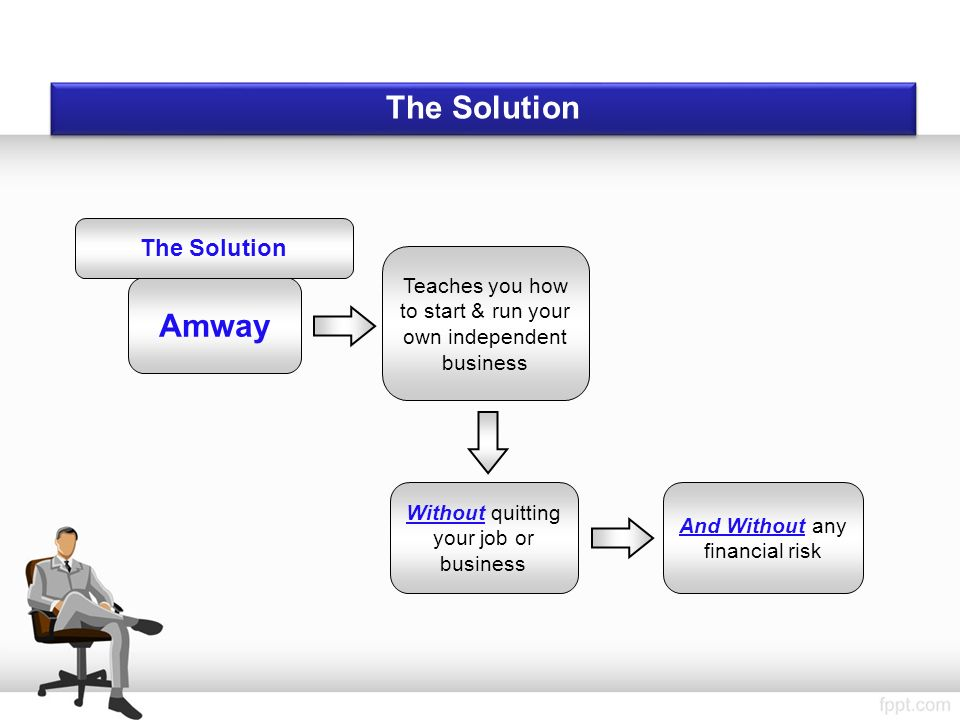The Solution Amway Teaches you how to start & run your own independent business Without quitting your job or business And Without any financial risk The Solution