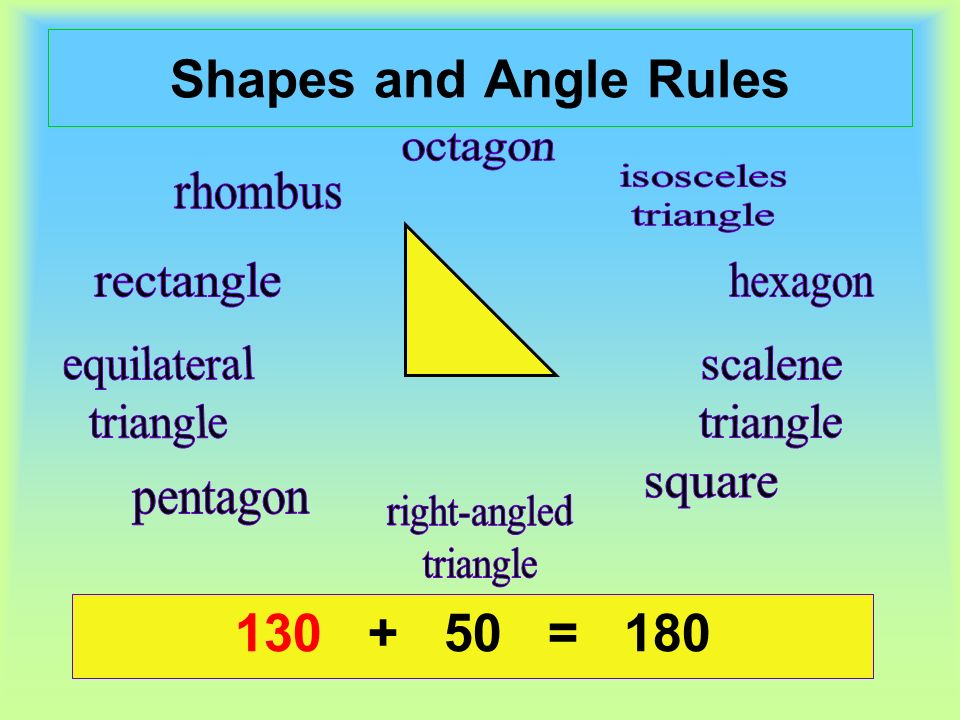 Shapes and Angle Rules + 50 = = 180