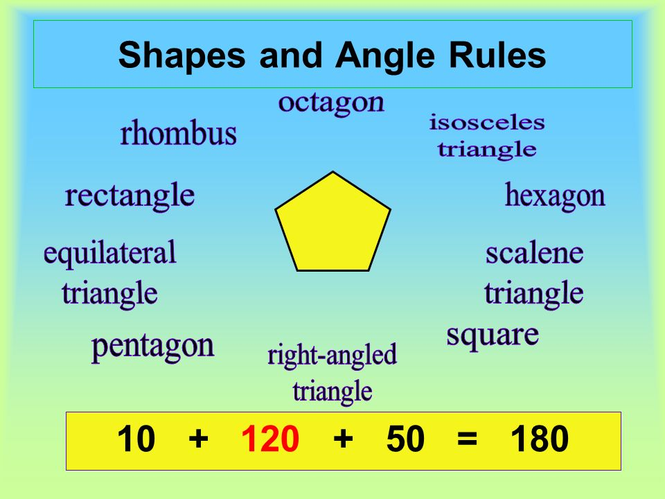 Shapes and Angle Rules = = 180