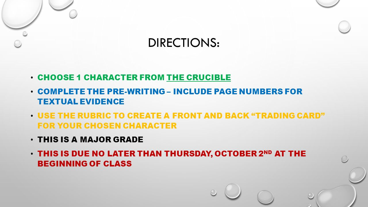 choose characters from the the crucible The crucible from multiple critical assign each (or allow each to choose) one character (abigail williams, john proctor, or elizabeth proctor) and have them.