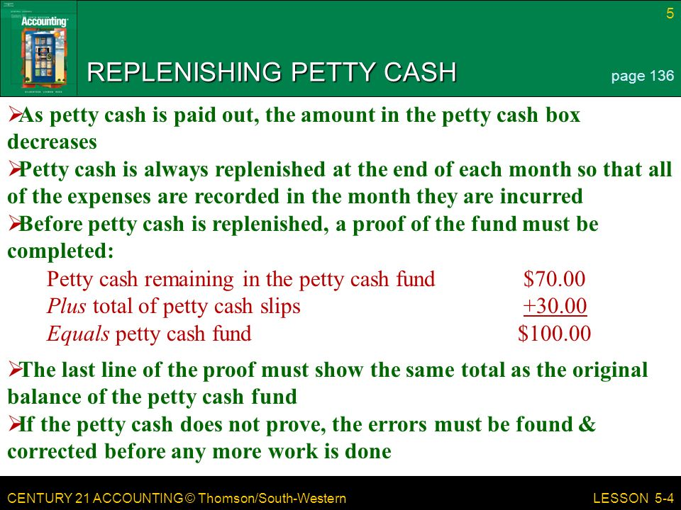 CENTURY 21 ACCOUNTING © Thomson/South-Western 5 LESSON 5-4 REPLENISHING PETTY CASH page 136  As petty cash is paid out, the amount in the petty cash box decreases  Petty cash is always replenished at the end of each month so that all of the expenses are recorded in the month they are incurred  Before petty cash is replenished, a proof of the fund must be completed: Petty cash remaining in the petty cash fund$70.00 Plus total of petty cash slips Equals petty cash fund $  The last line of the proof must show the same total as the original balance of the petty cash fund  If the petty cash does not prove, the errors must be found & corrected before any more work is done