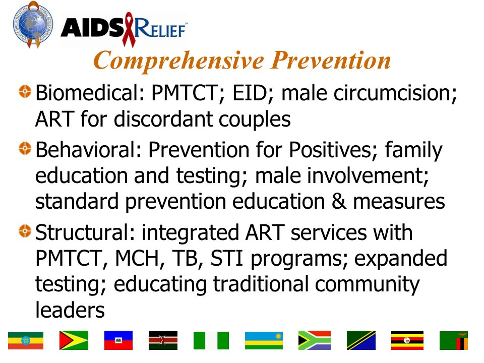 Comprehensive Prevention Biomedical: PMTCT; EID; male circumcision; ART for discordant couples Behavioral: Prevention for Positives; family education and testing; male involvement; standard prevention education & measures Structural: integrated ART services with PMTCT, MCH, TB, STI programs; expanded testing; educating traditional community leaders