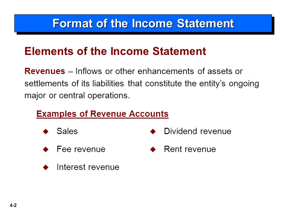 Income Statement And Related Information  Format Of The