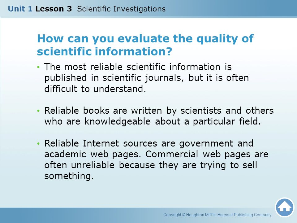 How can you evaluate the quality of scientific information.