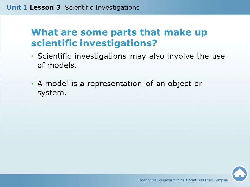 What are some parts that make up scientific investigations.