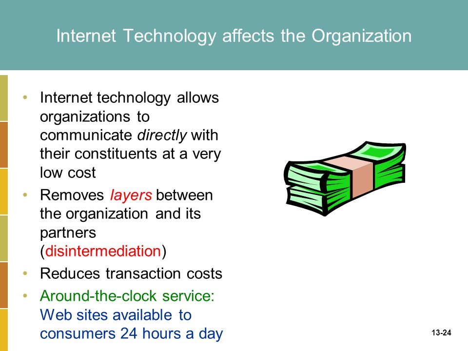 13-24 Internet Technology affects the Organization Internet technology allows organizations to communicate directly with their constituents at a very low cost Removes layers between the organization and its partners (disintermediation) Reduces transaction costs Around-the-clock service: Web sites available to consumers 24 hours a day
