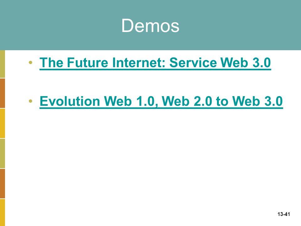 13-41 Demos The Future Internet: Service Web 3.0 Evolution Web 1.0, Web 2.0 to Web 3.0