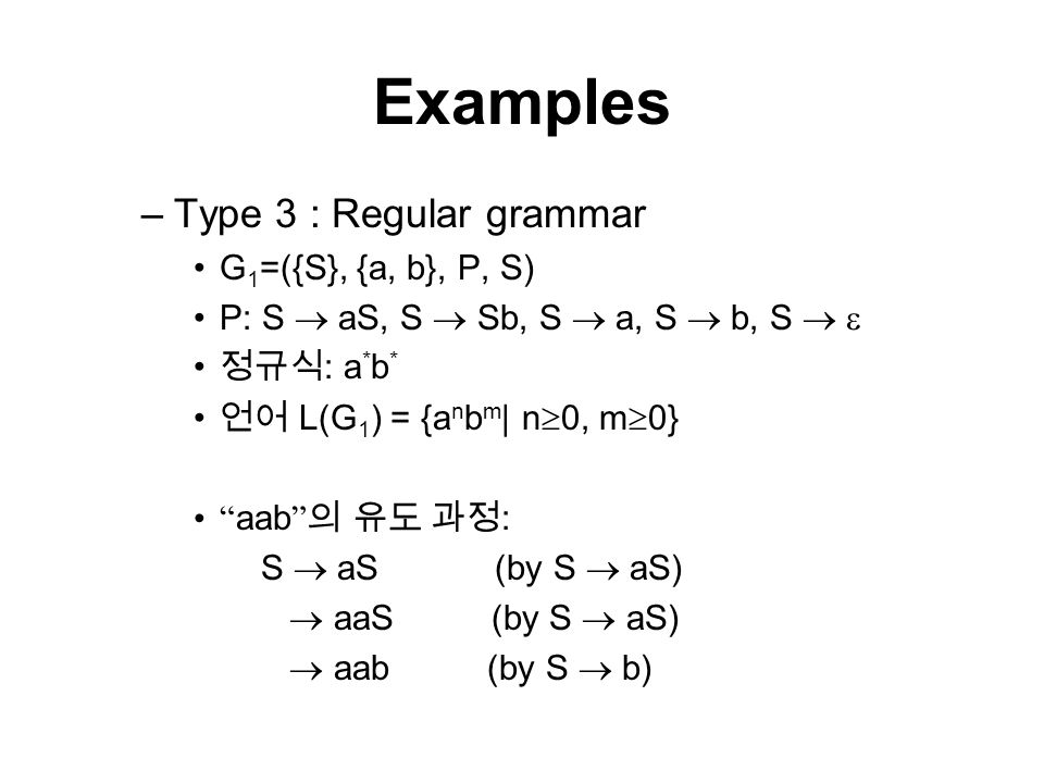 Grammar G V N V T P S V N Nonterminal Symbols V T