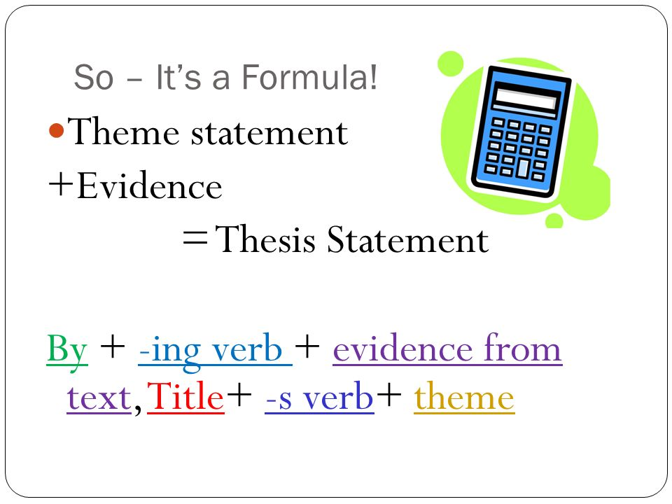 Formula For Writing A Thesis Statement