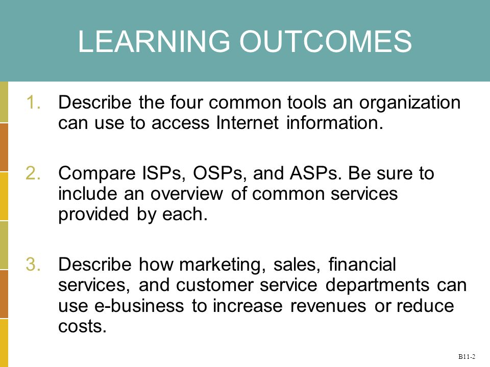 B11-2 LEARNING OUTCOMES 1.Describe the four common tools an organization can use to access Internet information.